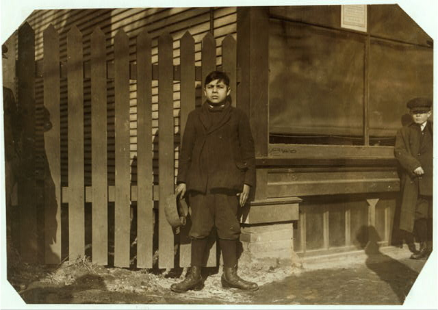 Mike Juriewier, 28 East St. Been working as Creel boy in #8 mill, Ludlow, one year. Very illiterate, wrote his name with great difficulty and poorly.  Location: Ludlow, Massachusetts.