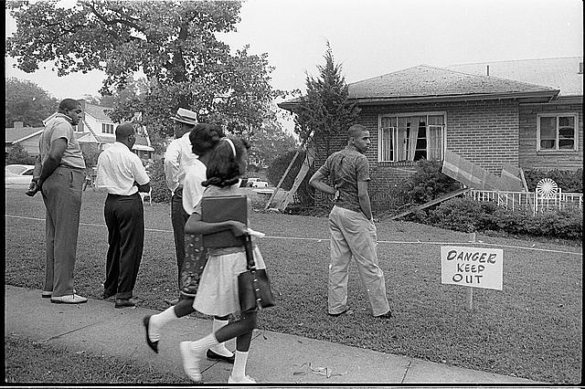 [Group of African Americans viewing the bomb-damaged home of Arthur Shores, NAACP attorney, Birmingham, Alabama]