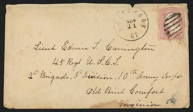 [Stamped envelope addressed to Lieut Edwin T. Carrington]