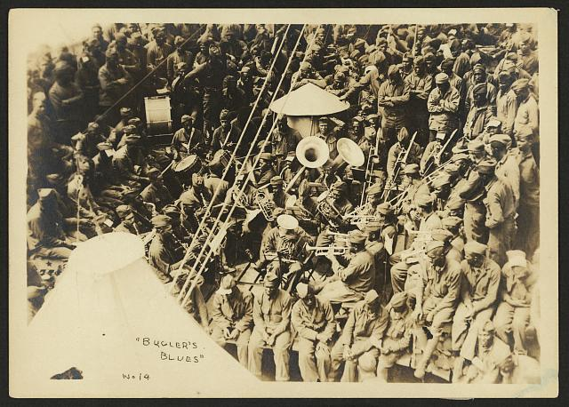 [803rd Pioneer Infantry Battalion on the U.S.S. Philippine (troop ship), from Brest harbor, France, July 18, 1919]. no. 14, Bugler's blues