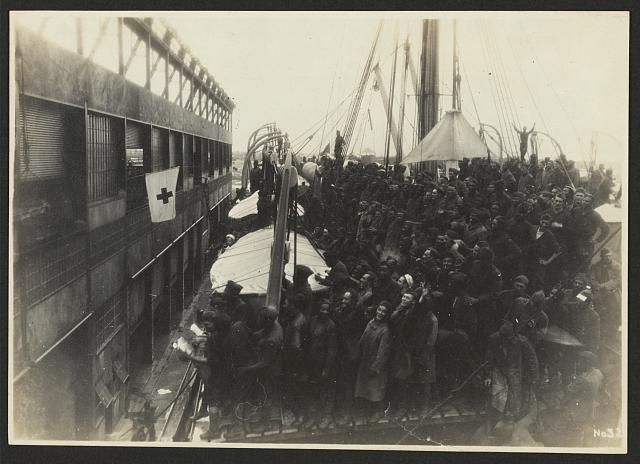 [803rd Pioneer Infantry Battalion on the U.S.S. Philippine (troop ship) from Brest harbor, France, July 18, 1919]. no. 32
