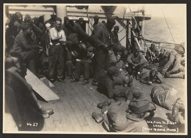 [803rd Pioneer Infantry Battalion on the U.S.S. Philippine (troop ship) from Brest harbor, France, July 18, 1919]. no. 27, Waiting to sight land (only 10 days more)