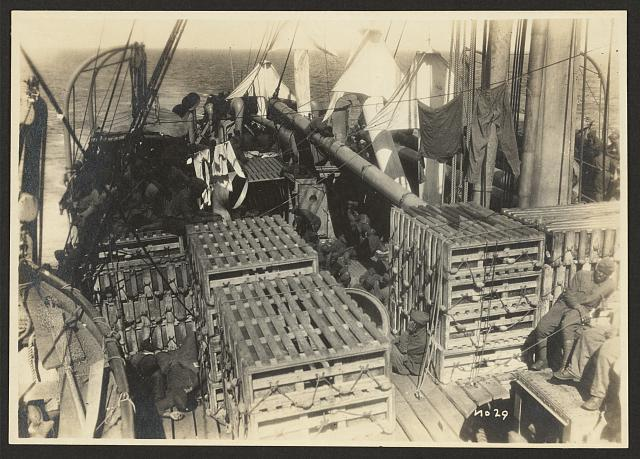 [803rd Pioneer Infantry Battalion on the U.S.S. Philippine (troop ship) from Brest harbor, France, July 18, 1919]. no. 29