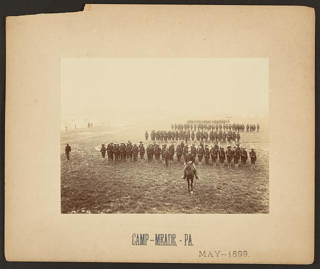 [African American soldiers in formation at Camp Meade, Pennsylvania]