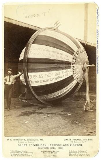 Great Republican Harrison and Morton, campaign ball, 1888