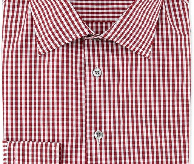 Giorgio Armani Gingham Print Woven Dress Shirt Burgundy