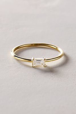 Anthropologie Liven Co Baguette Diamond Ring In 14k Yellow Gold         Anthropologie Liven Co Baguette Diamond Ring In 14k Yellow Gold