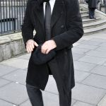 Stanley Tucci Wearing Black Overcoat Black Suit White Dress Shirt Black Leather Oxford Shoes Lookastic