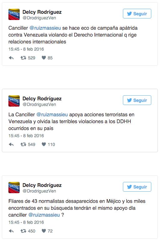 tuits Delcy Rodríguez a Claudia Ruiz Massieu
