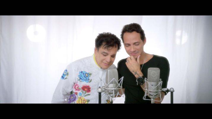 "Juanga y Marc Anthony grabando ""Yo te recuerdo"". Foto de Multivu."