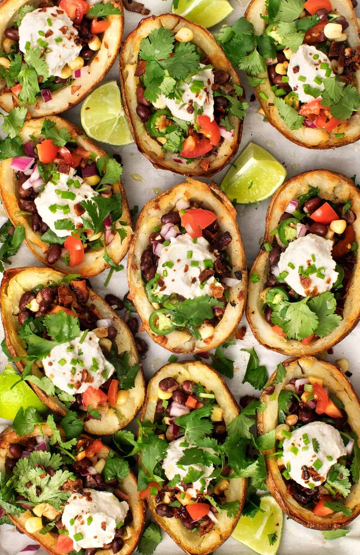 Healthier Vegan Stuffed Potato Skins Recipe