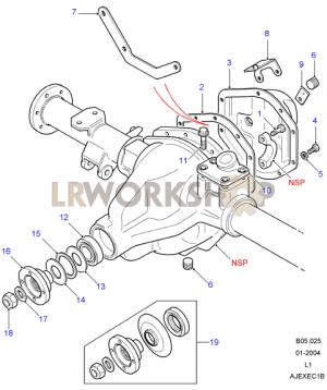 Rear Axle Case Assembly  Salisbury, 110130  Find Land