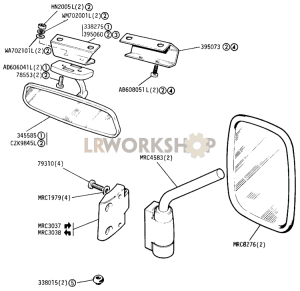 Interior and Door Mounted Mirrors  Find Land Rover parts