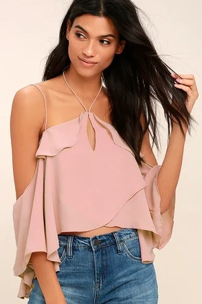 Cute Blush Pink Top Off The Shoulder Top Blouse 4900