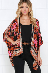 Russian Rose Red Floral Print Kimono Top