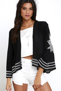 Amuse Society La Flora Black Embroidered Kimono Top