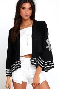 Amuse Society La Flora Black Embroidered Kimono Top
