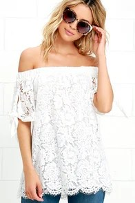 Ethereal View Ivory Lace Off-the-Shoulder Top