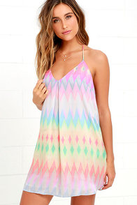 Mountain Lookout Pink Print Slip Dress