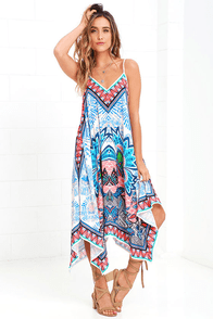 Island Ready Blue Print Midi Dress