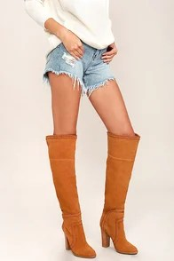 Report Liola Tan Suede Leather Over the Knee Boots