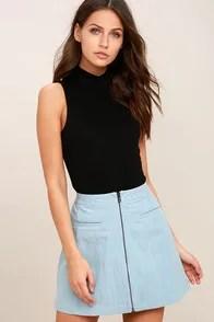 Zippity Doo Dah Blue Chambray Mini Skirt