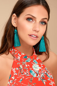 Temptress Teal Blue Tassel Earrings