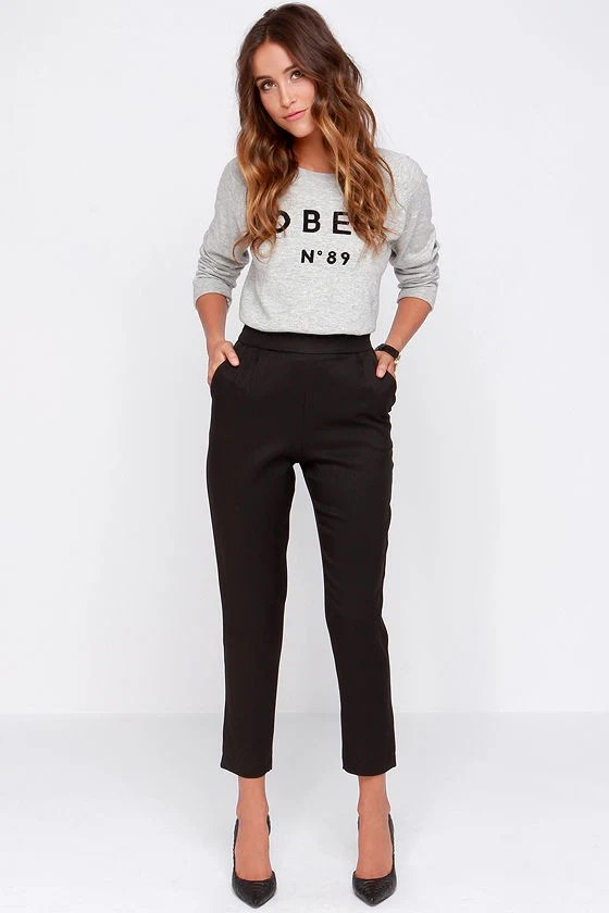 Chic Black Pants High Waisted Pants Black Trousers