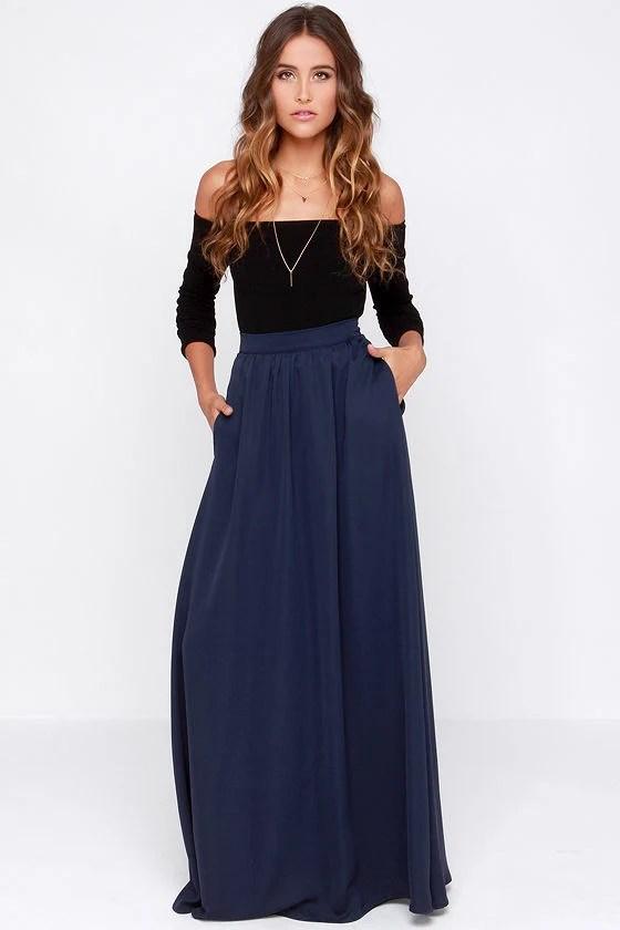 Navy Blue Long Skirt - Skirts