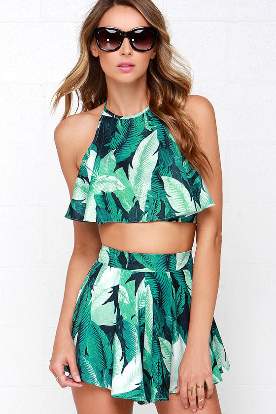 Leaf it to Me Green Tropical Print Two-Piece Set at Lulus.com!