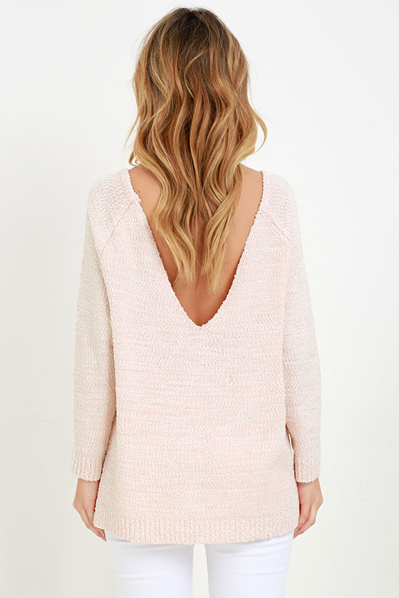 Fireside Sparks Peach Backless Sweater at Lulus.com!