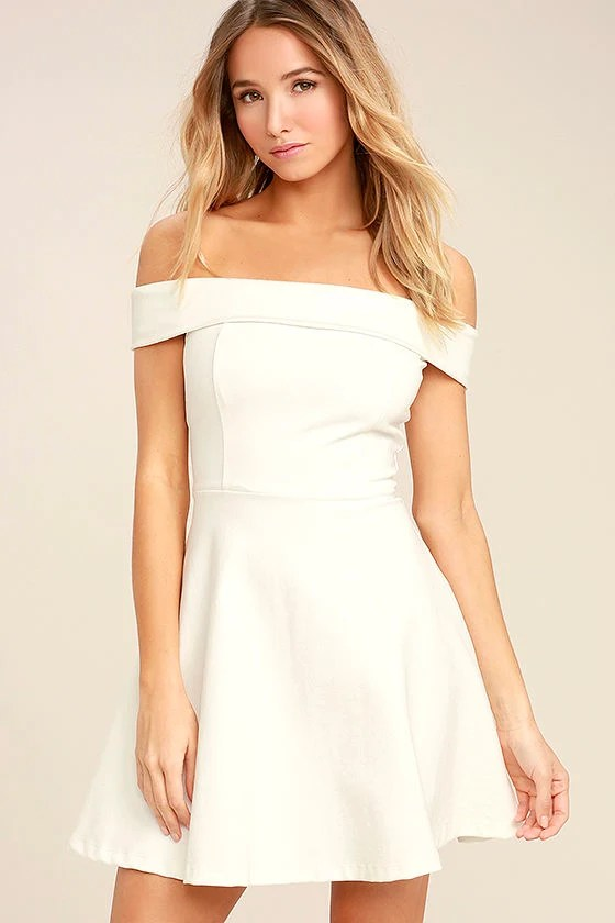 Season of Fun White Off-the-Shoulder Skater Dress