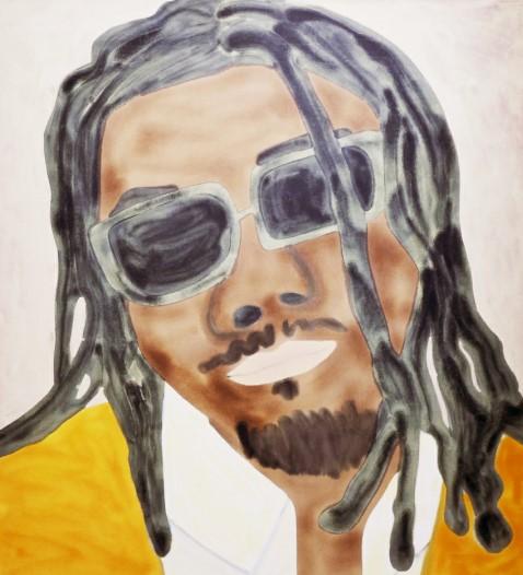 Travis Fish Offset Portrait, 2020 Acrylic on canvas 200 x 170 cm