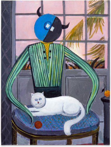 Cai Zebin Fictional Image - Cat Charmer 2020 Acrylic on canvas panel 40,6 x 30,5 cm