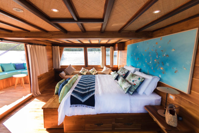 The 26m motor yacht Magia II is fresh from a refit and has a stunning master suite with panoramic views