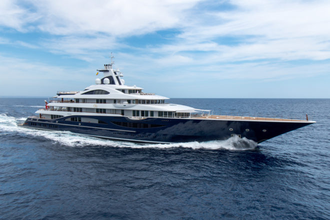 The 111m Tis built by Lurssen will be the largest-ever yacht displayed at the Monaco Yacht Show - and is reviewed in Yacht Style Issue 49; Photo: Klaus Jordan