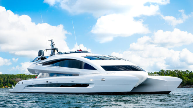 Royal Falcon One was developed by the Royal Falcon One was developed by the Singapore-based Royal Falcon Fleet, built in Sweden and designed by Studio F.A. Porsche
