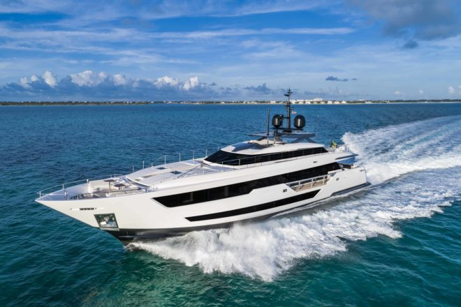 A Custom Line 120' arrived in Hong Kong late last year