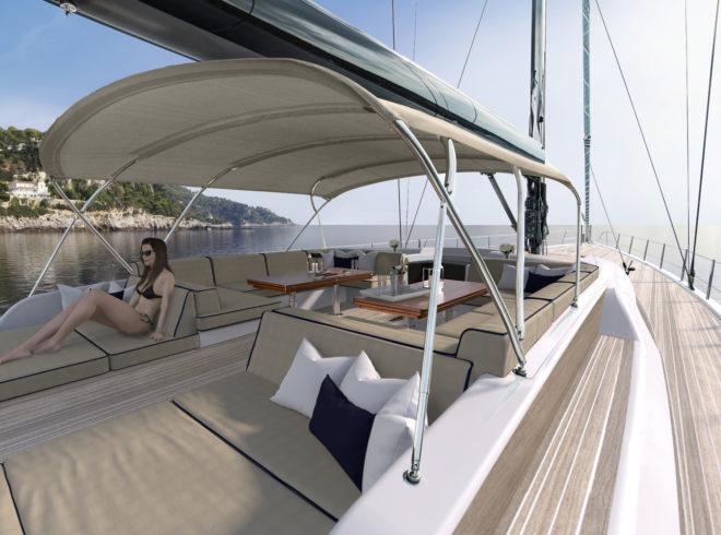 The Swan 98 features an elegant, spacious exterior by German Frers
