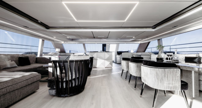 Sunreef offers multiple layouts for the main-deck interior