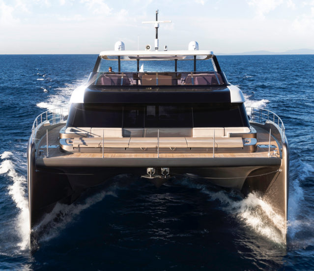 Hull one of the 80 Sunreef Power premiered at the Cannes Yachting Festival