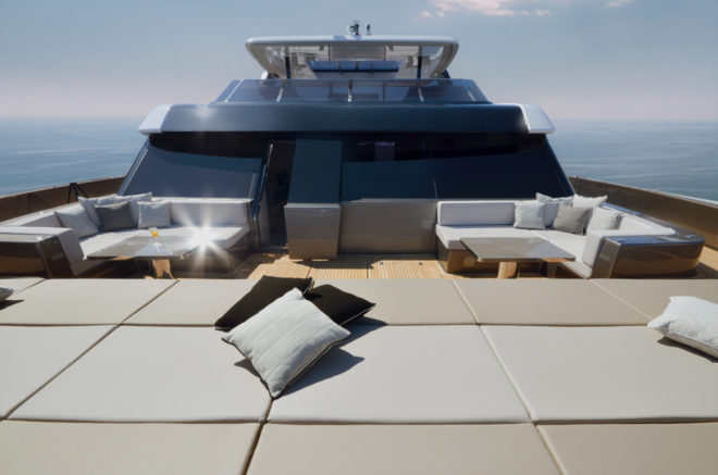 The foredeck features an enormous row of full-length sunpads