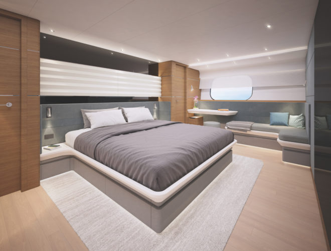 The master suite (above) and VIP suite (below) on the CLB88 are both full-beam