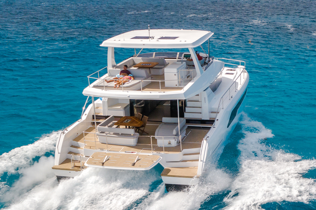 The cockpit features a lounger, corner sofa, table and chairs, while the flybridge has aft sunpads, a lounge and forward sofa