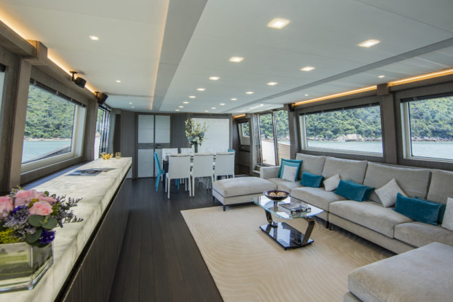 The enormous saloon has been customised by Asia Yachting
