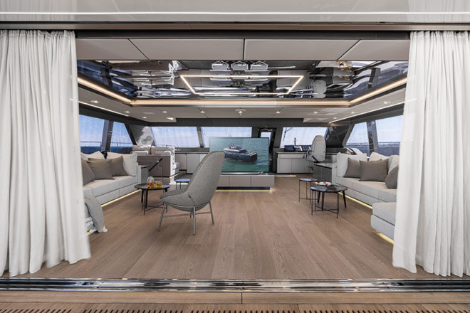 The huge saloon has access to the foredeck