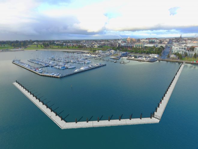 Multifunctional floating breakwater designed and built by Poralu Marine for Royal Geelong Yacht Club