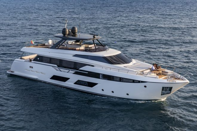 The Ferretti Yachts 920 has four guest cabins and a top speed of 26 knots