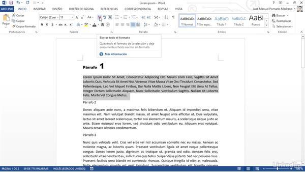 Controlar Y Dar Formato Al Texto En Word 2013