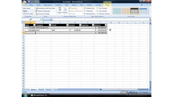 Tracking Income And Expenses Using An Excel Table